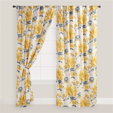 yellow and gray floral fleurs curtains set of 2 world market