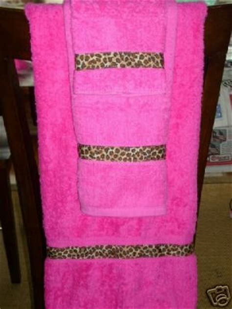pink leopard bath towel set