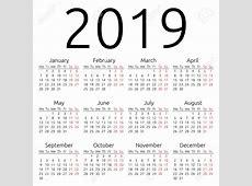 Yearly Calendar 2019 printable calendar weekly