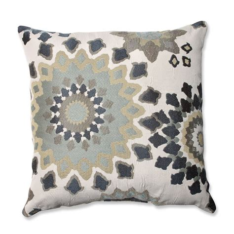 shop pillow 18 in w x 18 in l marais garden indoor decorative pillow at lowes