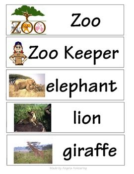 Zoo Words For Word Wall By Mrs A  Teachers Pay Teachers