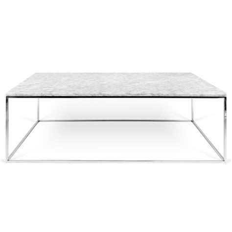 Gleam White Marble   Chrome Rectangle Modern Coffee Table