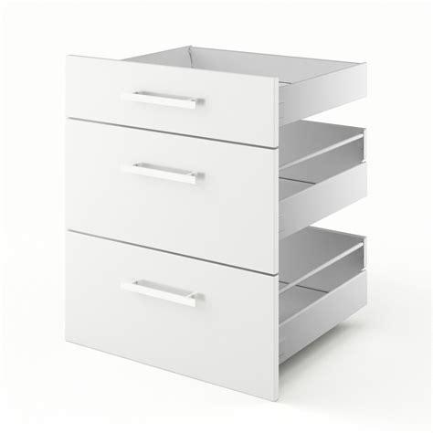 3 tiroirs de cuisine blanc 3d60 d 233 lice l60 x h70 x p55 cm leroy merlin