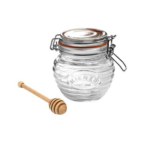 clip top honey pot with dipper 0 4lt clip top jars kilner range