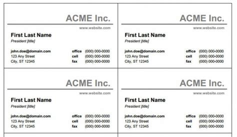 Word Business Card Template