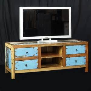 meuble tv bois de bateau recycle en teck de chez origin s meubles