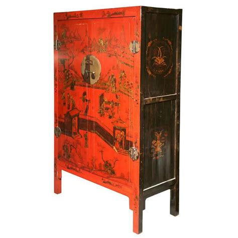 19th Century Qing Dynasty Large Red Lacquer Chinoiserie