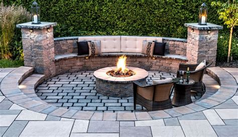 Patio With Furniture And Curved Bench Also Fire Pit Warm