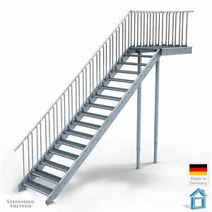 Holztreppen Geländer Selber Bauen : au entreppe stahl mit 16 steigungen 100 cm stufenweite mit podest bausatz komplett steinhaus ~ Markanthonyermac.com Haus und Dekorationen