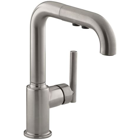 kohler purist single handle pull out sprayer kitchen faucet in vibrant stainless k 7506 vs the