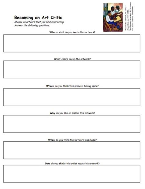 Art Critique Worksheet High School Art Best Free Printable Worksheets