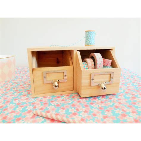rangement bureau 2 tiroirs en bois