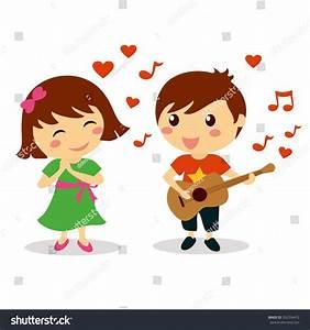 Cute Boy Singing Love Song Beautiful Stock Vector ...