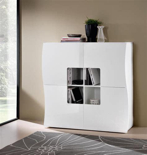 meuble de rangement design 4 portes laqu 233 blanc onida meuble de rangement meuble de salon