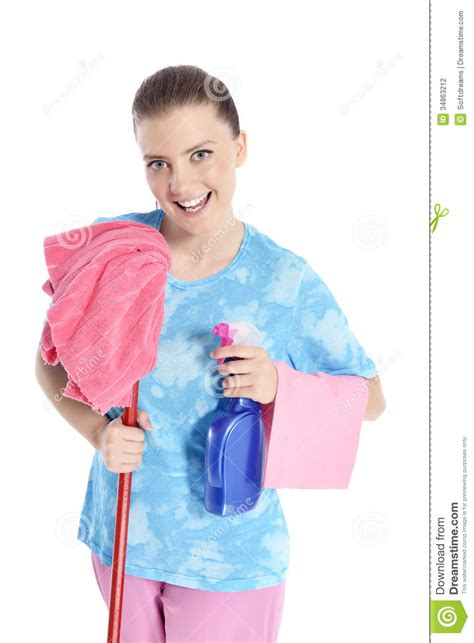 Cute Maid With Cleaning Supplies Stock Photo  Image 34863212