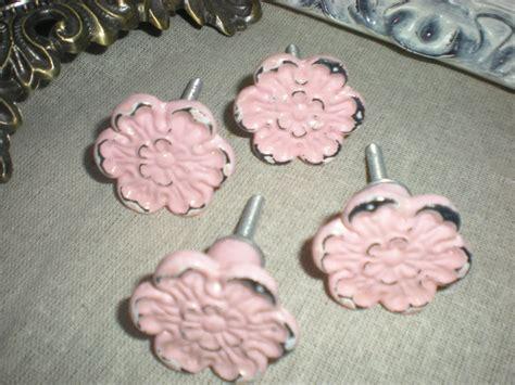 set of 4 pink vintage inspired dresser knobs drawer pulls drawer knobs cottage chic