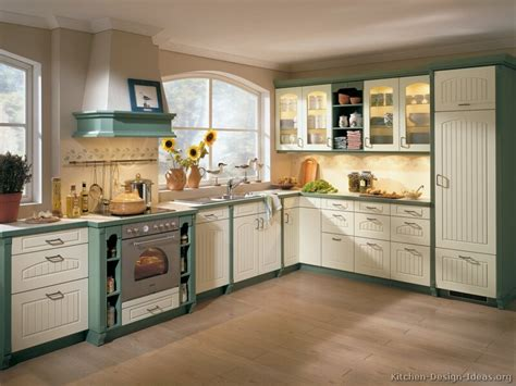 Rustic Large Two Toned Cabinets In Kitchen Under Recessed