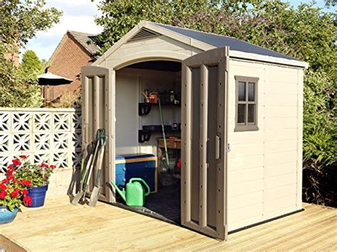 keter factor large 8 x 6 ft resin outdoor backyard garden storage shed lawn patio in the