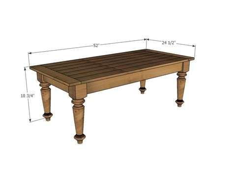 Dimensions Of Standard Coffee Table  Turned Leg Coffee
