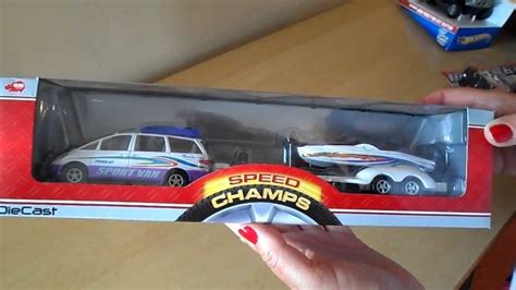 Toy Boat And Trailer Set by German Dickie Toys Mini Van And Trailer With Motorboat