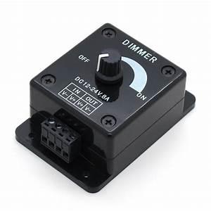 Led Dimmer Anschließen : buy black led dimmer switch dc 12v 24v 8a adjustable brightness lamp bulb strip ~ Markanthonyermac.com Haus und Dekorationen