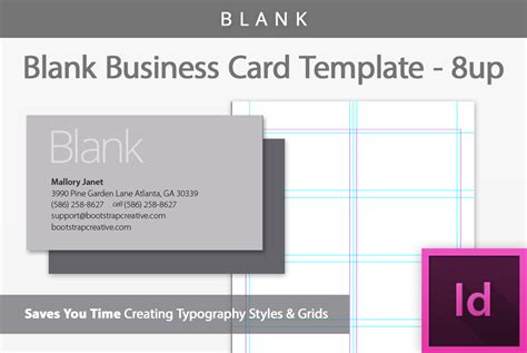 Blank Business Card Template 8-up