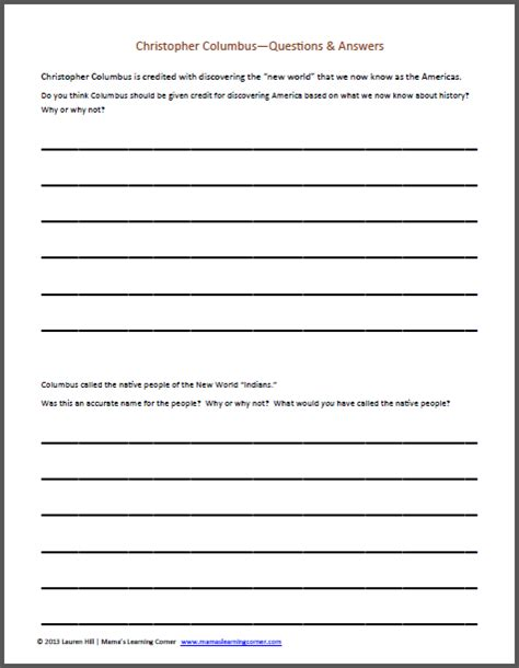 Christopher Columbus Worksheet Packet For 1st3rd Graders  Mamas Learning Corner