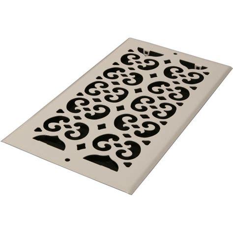 decor grates 6 in x 12 in white steel decorative scroll