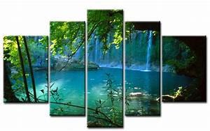 Bild 3 Teilig Auf Leinwand : wasserfall leinwand 5 bilder bergsee wald m50123 xxl die leinwandfabrik ~ Markanthonyermac.com Haus und Dekorationen