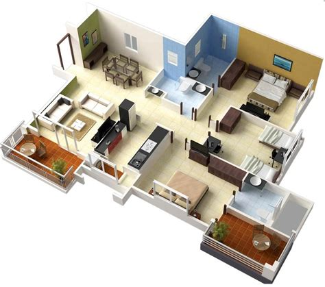 3 Bedroom Apartmenthouse Plans  Futura Home Decorating