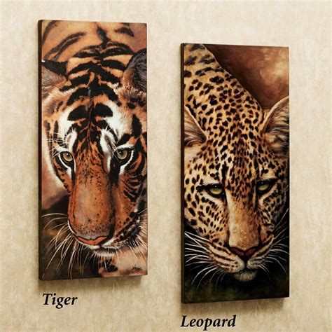 leopard and tiger canvas set