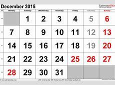 December Calendar 2016 Starting Monday