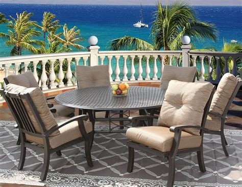 barbados cushion outdoor patio 7pc dining set for 6 person