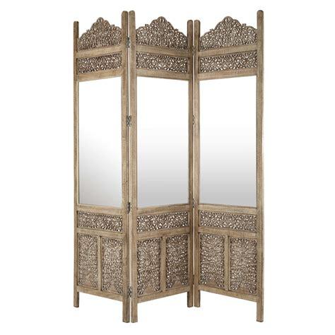 paravent miroir en bois sculpt 233 l 153 cm surabaya maisons du monde