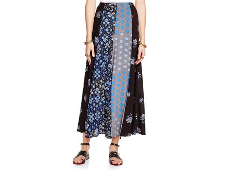 Free People Amazing Technicolor Mixed Print Maxi Skirt In Blue