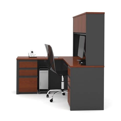 bestar prestige l shape wood computer desk in bordeaux graphite 99852 39