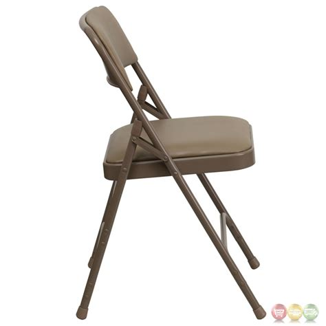 hercules hinged beige vinyl upholstered metal folding chair