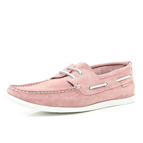 Pink Boat Shoes For Men by River Island Light Pink Boat Shoes In Pink For Men Lyst