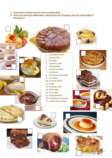 les desserts pr 233 f 233 r 233 s des fran 231 ais fiche d exercices fiches p 233 dagogiques gratuites fle