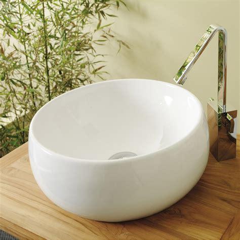 vasque 224 poser c 233 ramique diam 38 cm blanc lune leroy merlin