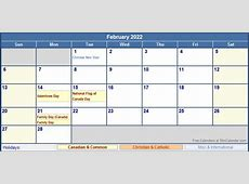 February 2022 Canada Calendar with Holidays for printing