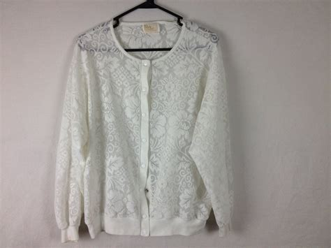 White Floral Sheer Lace Button Up Sweater Jacket By Sadgurlclothes