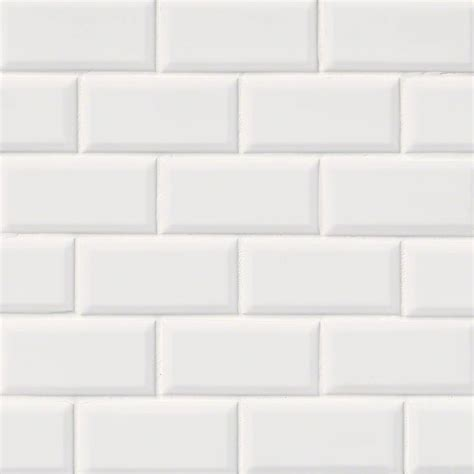 subway tile domino white glossy subway tile beveled 2x4