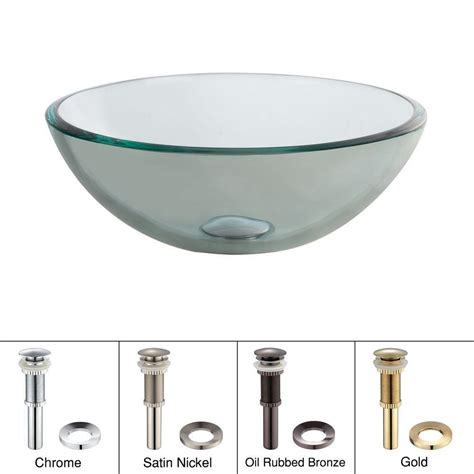 kraus 14 in glass vessel sink in clear with pop up drain and mounting ring in satin nickel gv