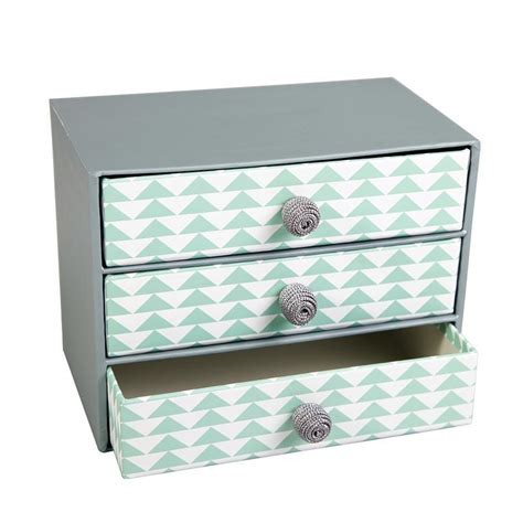 boite de rangement 3 tiroirs gris vert chevrons 20 x 15 x 12 cm
