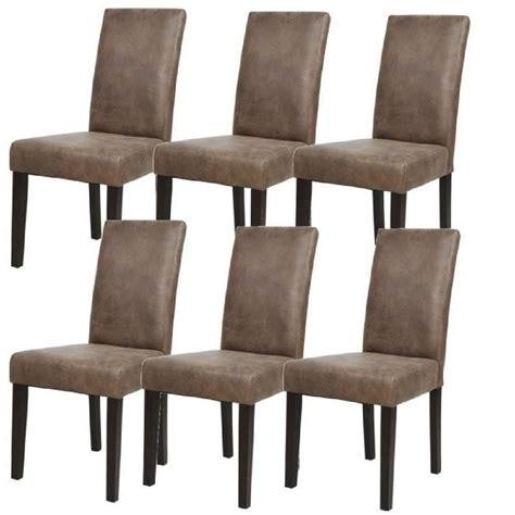 albus lot de 6 chaises de salle 224 manger vintage marron achat vente chaise cdiscount