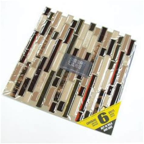 smart tiles 10 13 in x 10 in peel and stick mosaic decorative wall tile in bellagio 6 pack