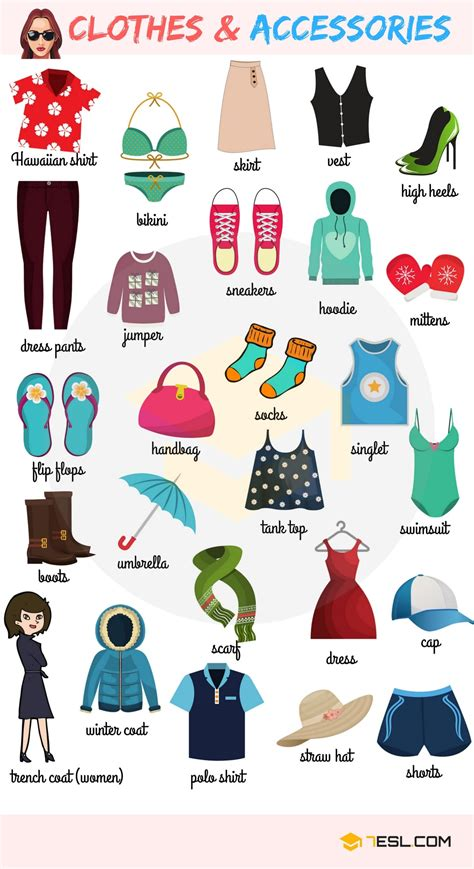 Clothes And Accessories Vocabulary In English  7 E S L