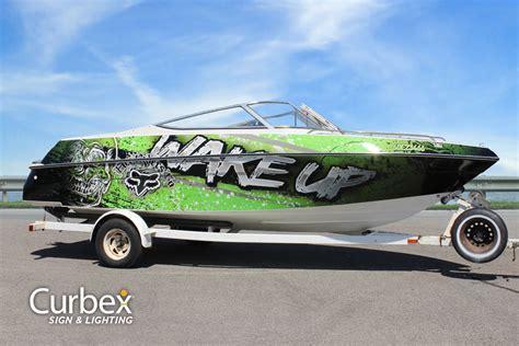Custom Fishing Boat Graphics by Custom Boat Wrap Graphics Vinyl Decals Wakeup Ski Boat