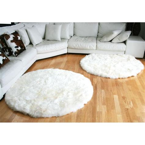 tapis rond en peau de mouton blanc achat vente tapis cdiscount